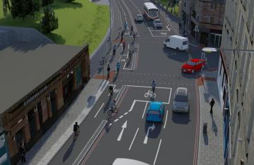 City Edinburgh Council visualisation - cycle route and new pedestrian crossings Crossing and